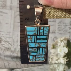 Jewelry - Turquoise and opal pendant in sterling silver